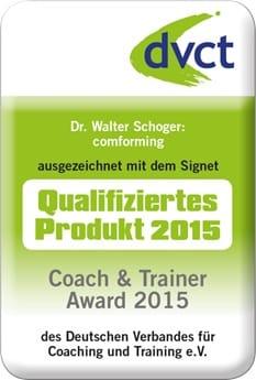 """comforming mit dem dvct-Signet """"Qualifiziertes Produkt 2015"""" beim Coach & Trainer Award des dvct ausgezeichnet"""