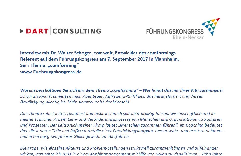 """Interview mit Walter Schoger, Referent auf dem Führungskongress am 07.09.2017 in Mannheim zum """"comforming"""""""